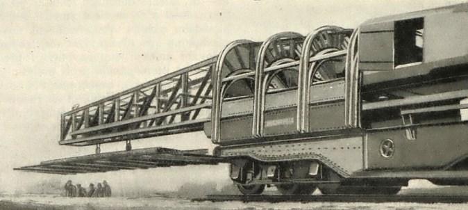 Obr.4. - Převislý jeřáb na kladení kolejnic (Vynálezy a pokroky č.15/1929).
