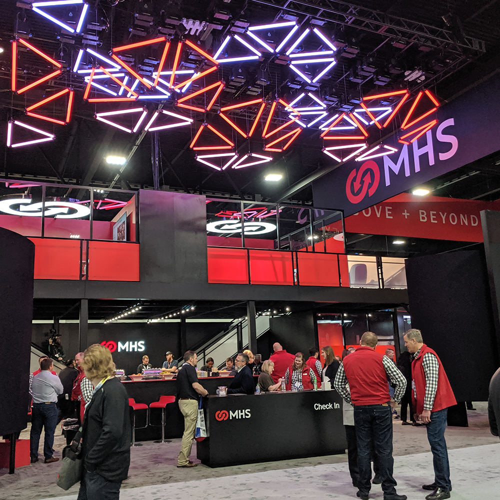 MHS wanted to make a big splash at MODEX 2020 so we create an immersive booth experience to do it.