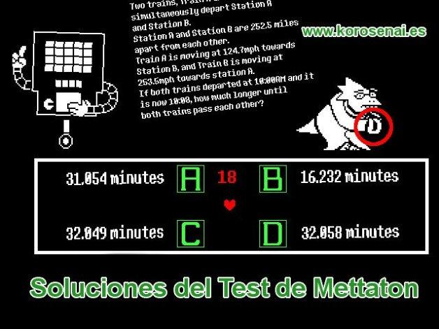 Soluciones del Test de Mettaton