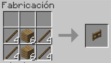 Receta de la Puerta de Valla de Madera en Minecraft