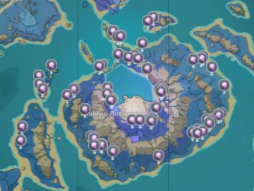 Mapa con la Localización del Fruto Amakumo en Genshin Impact