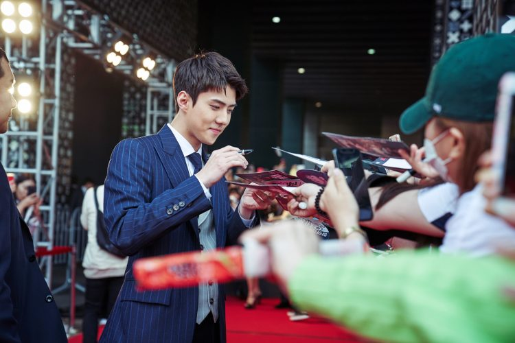 SEOUL, KOREA - APRIL 30: Sehun of EXO at the red carpet fan event for the first Korean unscripted Netflix series, Busted! I Know Who You Are on April 30 in Seoul, Korea. (Photo by Jinyoung Kim, Hunwoo Jang for Netflix)