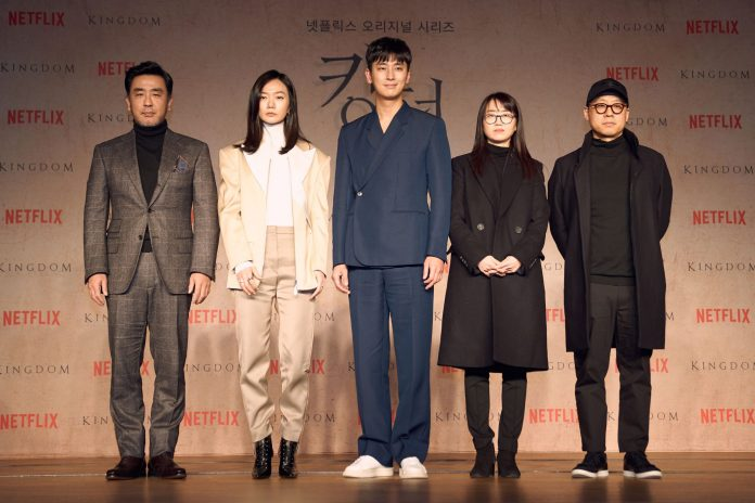 SEOUL, SOUTH KOREA - JANUARY 21: Ryu Seung-yong, Bae Doona, Ju Ji-hoon and writer Kim Eun-hee, director Kim Seoung-hoon(from left to right) attend the Netflix 'Kingdom' press conference on January 21, 2019 in Seoul, South Korea. (Photo by Handout/Netflix via Getty Images)