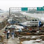 De snelweg naar Galveston, TX na Ike. Foto ©: Carlos Barria/Reuters