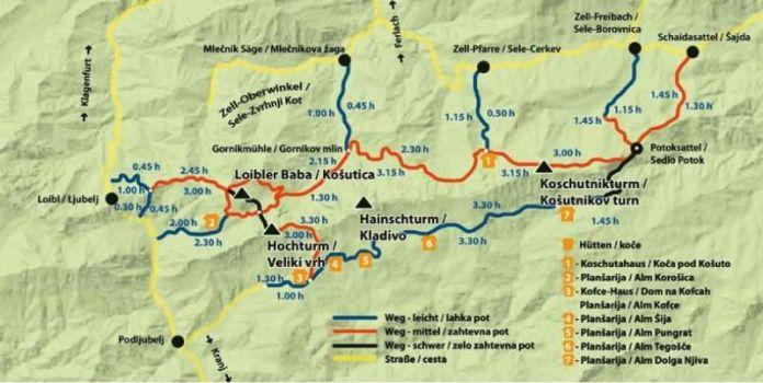 Karte Koschuta-Massiv