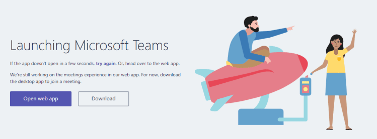 Launching Microsoft Teams