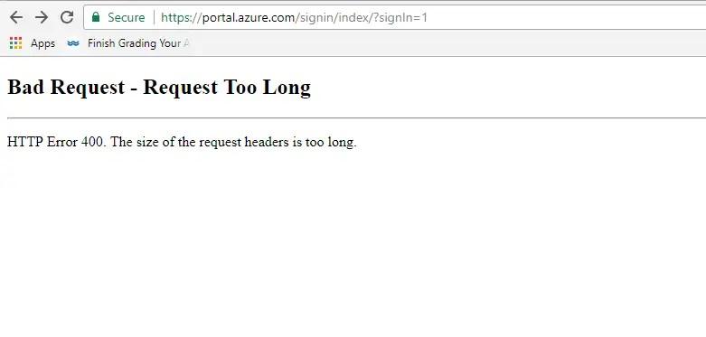 Azure Portal error