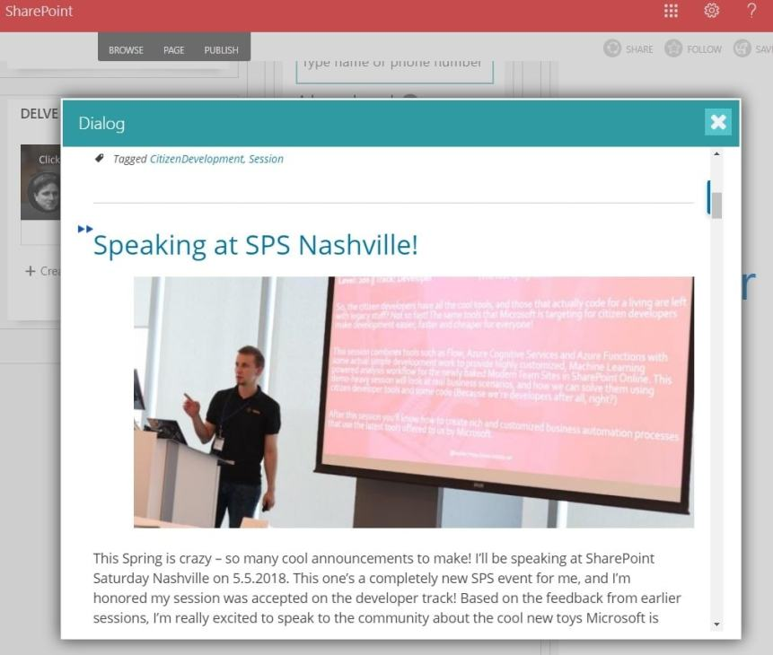 Showing a page from my blog in a pop-up on a Classic SharePoint site