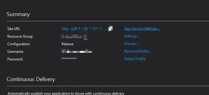 Visual Studio 2017 ASP.NET MVC project publish app settings