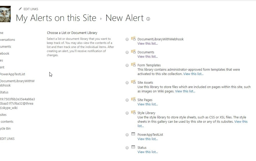 How to create a new Alert in SharePoint - first you select the list