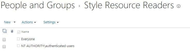 """The default permissions of """"Style Resource Readers"""" -built-in SharePoint Group"""