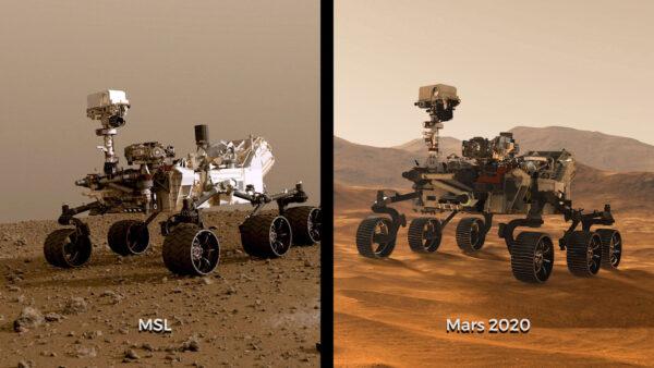 Obě vozítka dělí několik let vývoje - i přesto, že Mars rover 2020 vychází z roveru Curiosity, je na něm vidět technický pokrok.