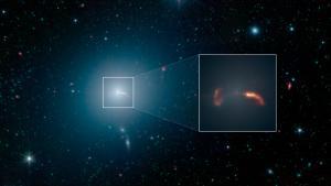 Snímek M87 v infračervené části spektra od teleskopu Spitzer.