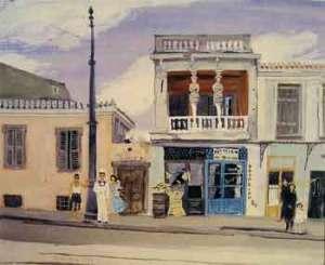 """Γιάννη Τσαρούχη, """"Σπίτι με Καρυάτιδες (στην οδό Ασωμάτων)"""", 1952"""
