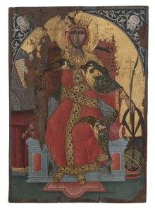 Εικόνα με παράσταση της Αγίας Αικατερίνης. Τέλη 17ου αιώνα. Βυζαντινό και Χριστιανικό Μουσείο (ΒΧΜ 11535).