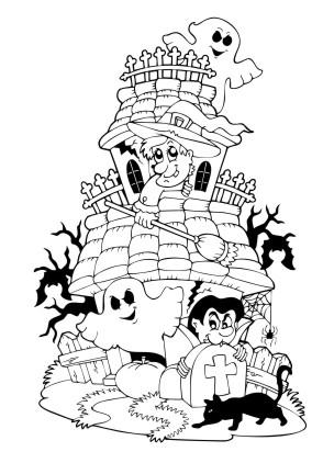 Ausmalbilder Halloween Burg Halloween Zum Ausmalen