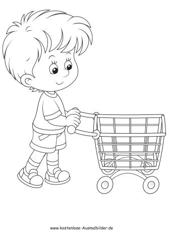 Ausmalbilder Junge Mit Einkaufswagen Menschen Zum