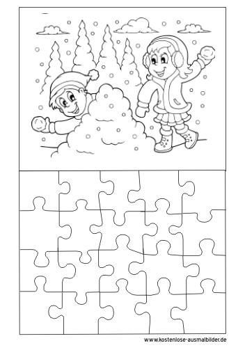 Ausmalbilder Puzzle Vorlage Winter Puzzle Zum Ausmalen