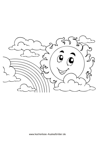 Sonne Und Regenbogen Sommer Ausmalen Malvorlagen Kl