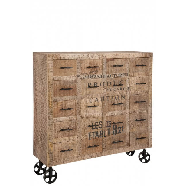 meuble bas industriel bois 20 tiroirs kotecaz