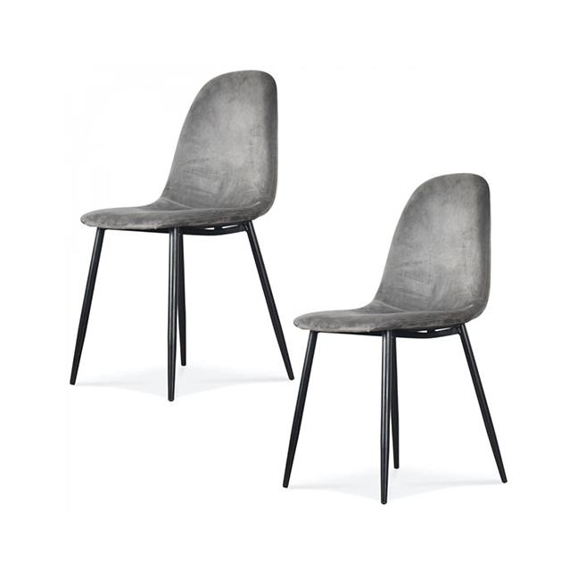 chaise scandinave velours gris kotecaz