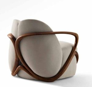 Contemporary beige cotton velvet chair