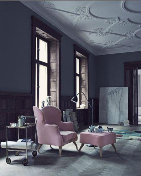 Pink chairs grey walls