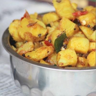 Koorka Mezhukkupuratti Recipe – Stir-fried Chinese Potatoes Recipe