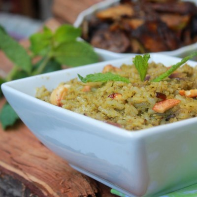 Mint Rice Recipe – Pudina Rice Recipe – Mint Pulao Recipe