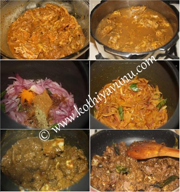 Kerala Mutton Roast - Nadan Erachi Ularthiyathu Steps |kothiyavunu.com