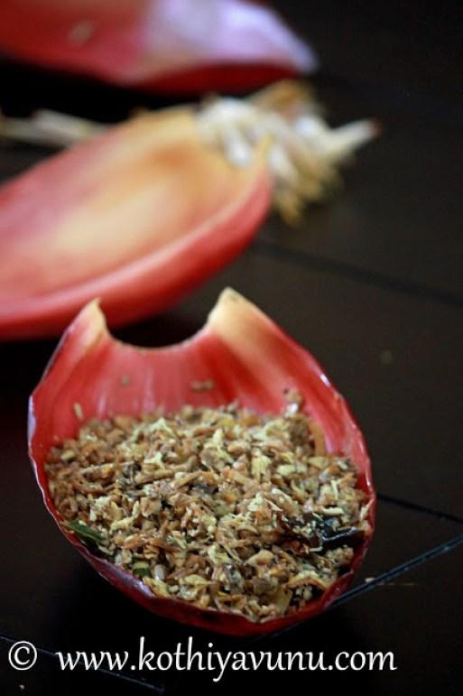 Vazha Koombu Thoran-Banana Blossom Stir Fry