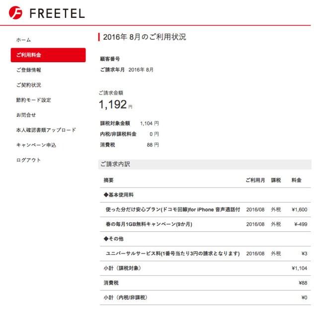 FREETEL 2016年8月の利用料金