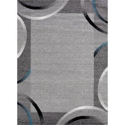 tapis de couloir santana gris noir bleu motifs arcs 80x250cm