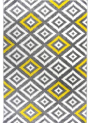 tapis de salon scandinave tavla en polypropylene 80 cm x 150 cm jaune