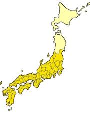 701年(大宝元年)から702年(大宝2年)まで。黄色で示す地域が制度の及ぶ範囲。