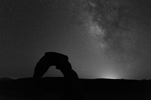 black and white milky way photo