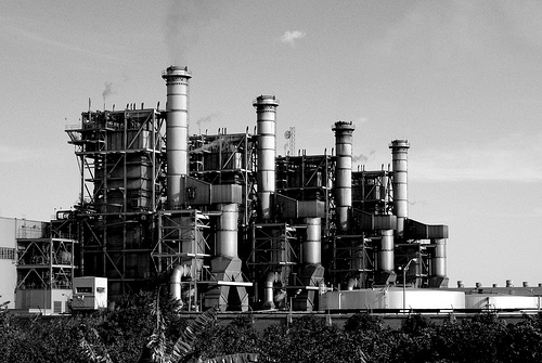 black and white factory pollution photo