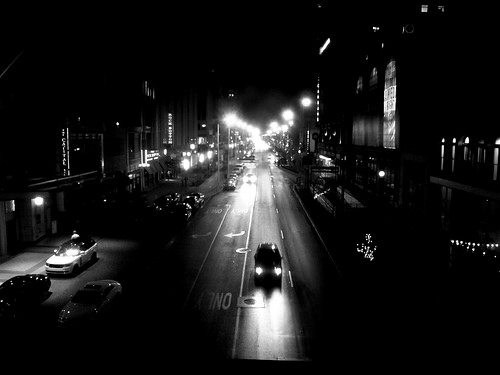 black and white city lights photo