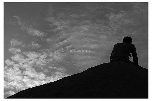 black and white sad photo