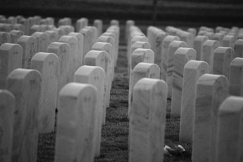 black and white military burial photo
