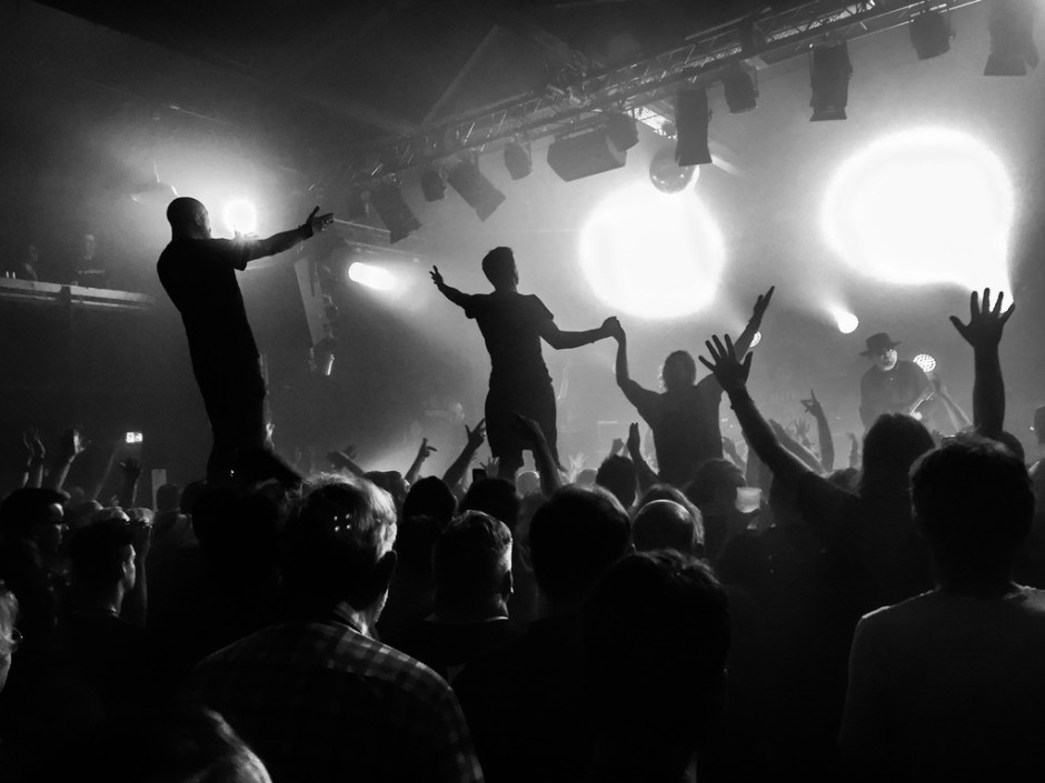 black and white crowd photo