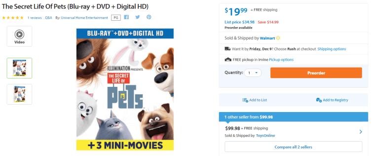great money maker deal on the secret life of pets blue ray dvd combo pack kouponing with. Black Bedroom Furniture Sets. Home Design Ideas