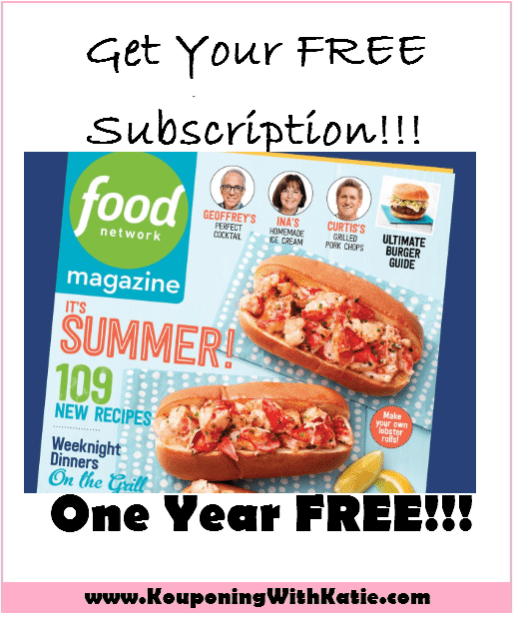 FREE One Year Subscription to Food Network Magazine!! NO