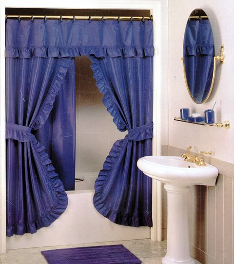 double swag shower curtain 1 80x1 80 blue