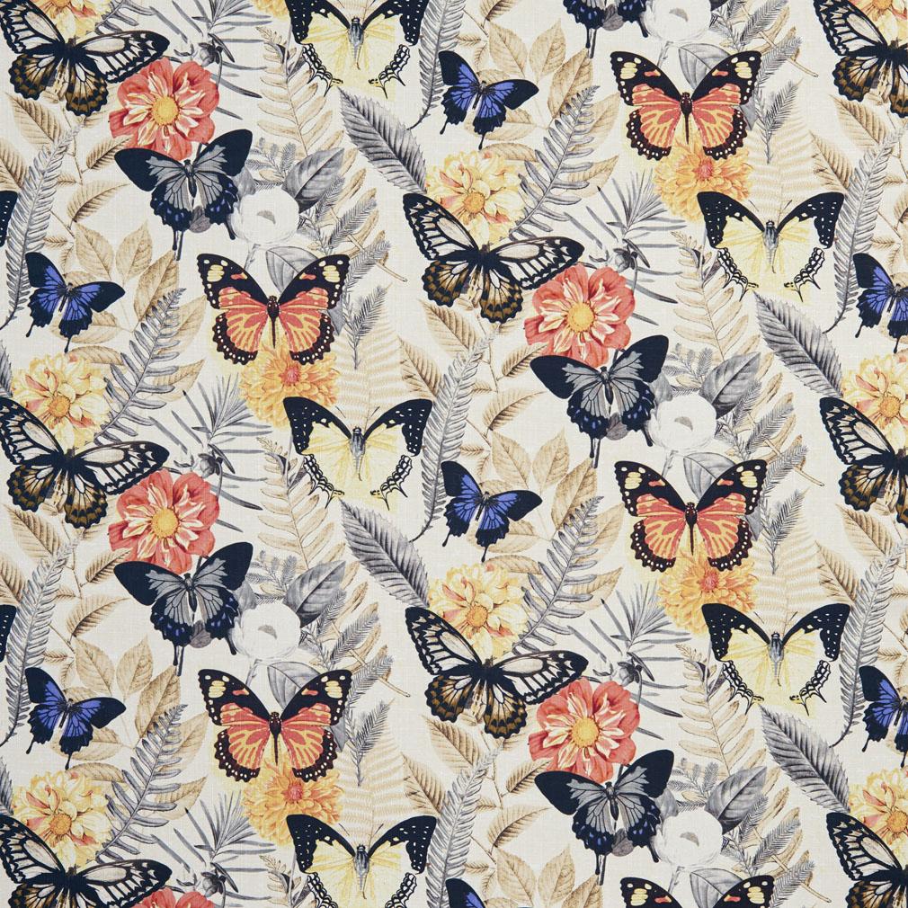 Beige And Black Butterfly Flower Fern Leafs Print Linen