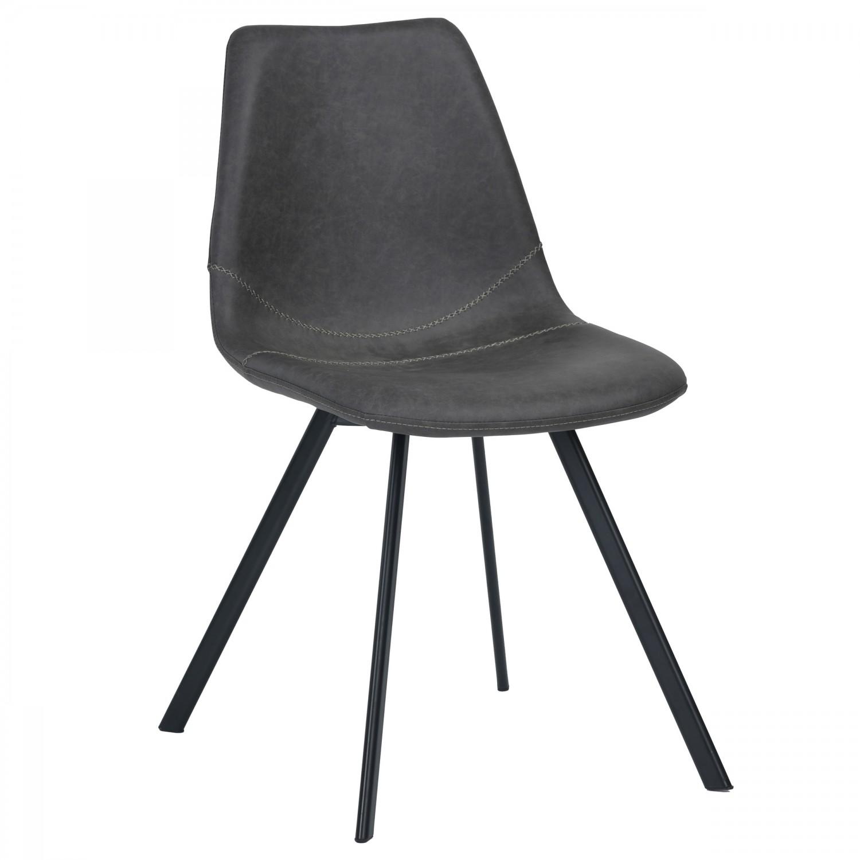 chaise vintage en simili cuir noir