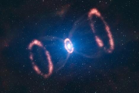 SN1987A'nın bir sanatçı tarafından yapılan çalışma. Eğer SN1987A'yı yandan görebilseydik, böyle bir görüntüyle karşılaşacaktık.