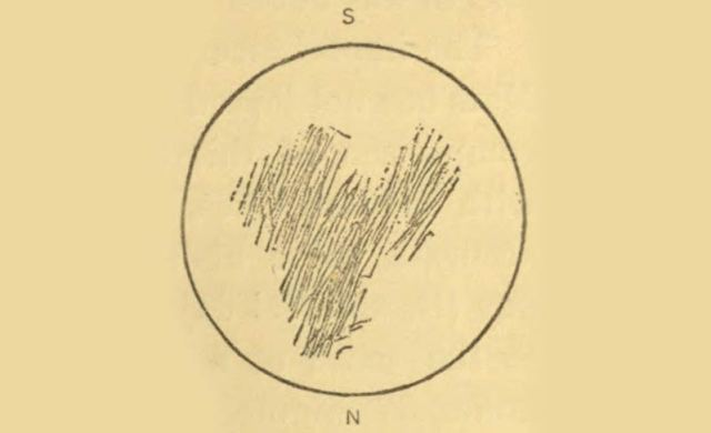 Christian Huygens'in Syrtis Major çizimi.