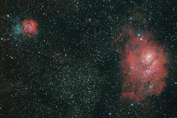 Trifid ve Lagoon Nebulaları.