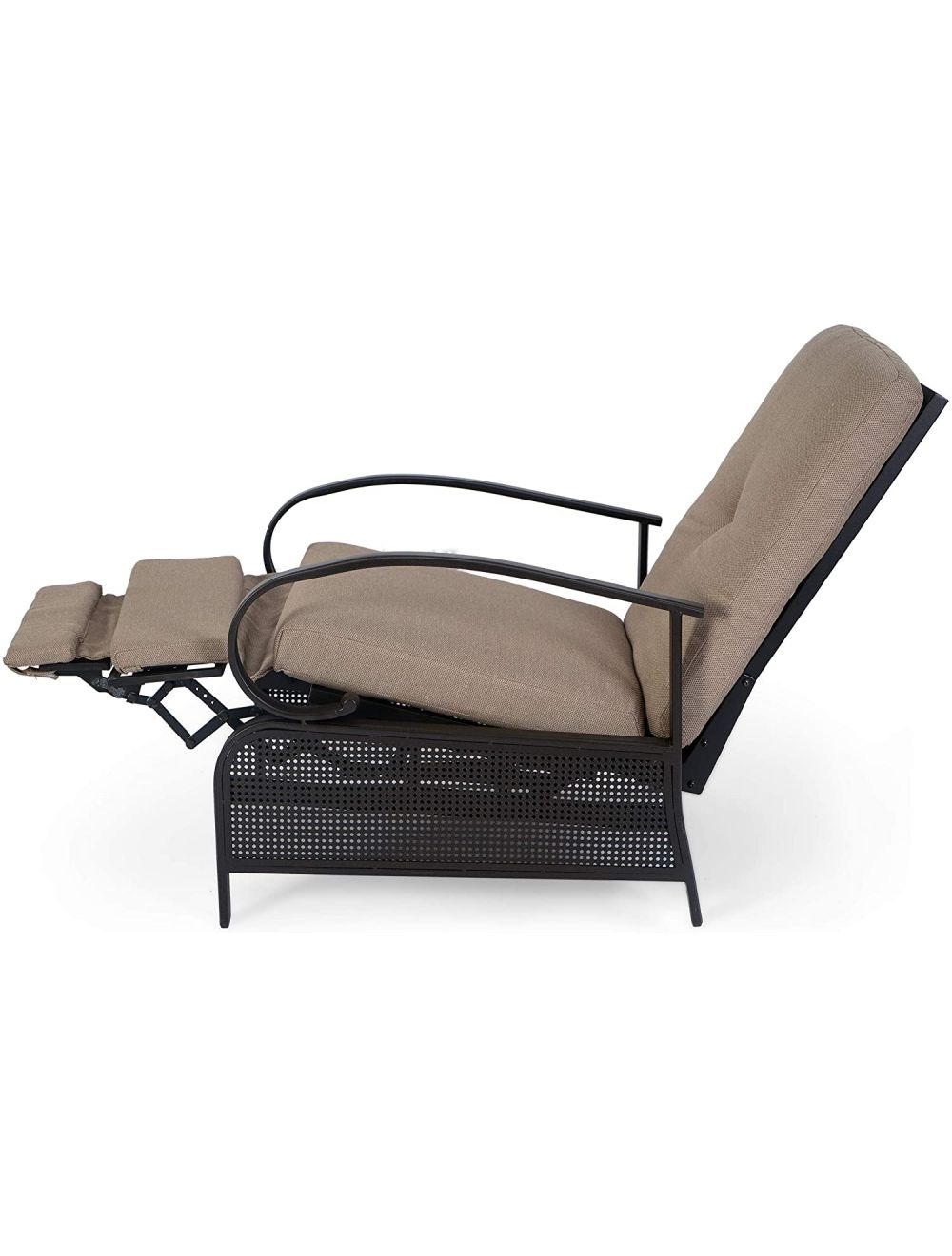 kozyard adjustable patio reclining lounge chair with strong extendable metal frame and removable cushions for outdoor reading sunbathing or